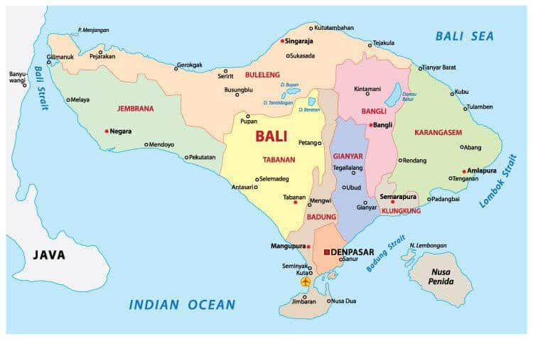 Bali Map Indonesia & World Map Tourist Attractions in Kuta & Surf