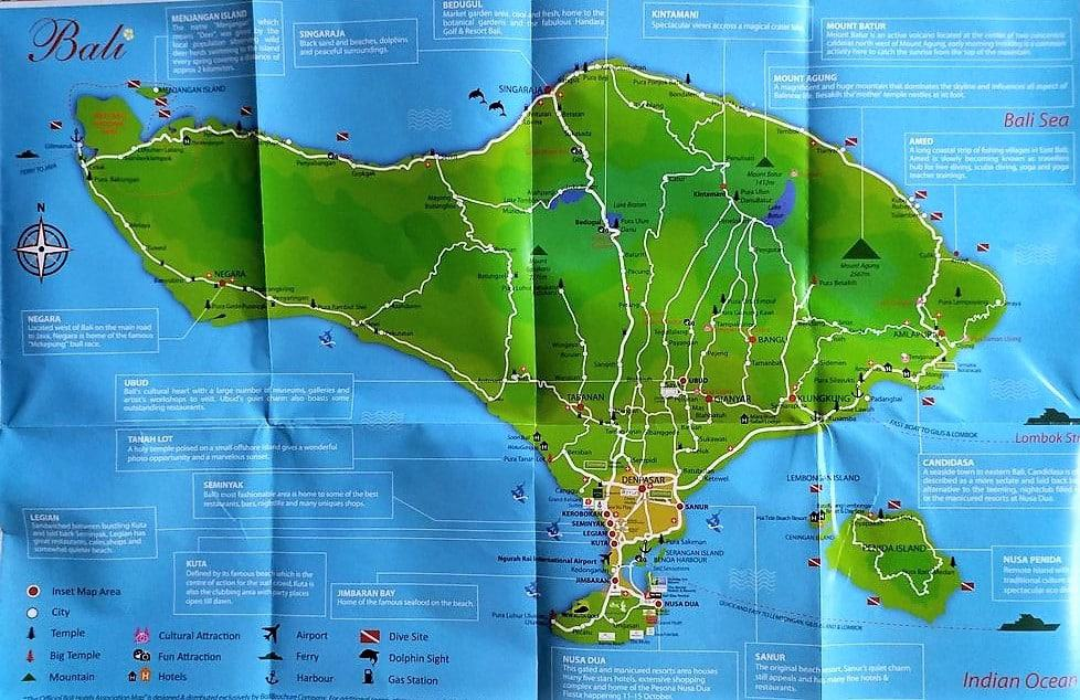 Bali Map Indonesia World Map Tourist Attractions in Kuta Surf